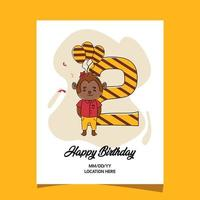 2nd birthday party invitation card with cartoon baby animal monkey character design vector