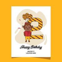 Tarjeta de invitación a la segunda fiesta de cumpleaños con diseño de personaje de mono animal bebé de dibujos animados