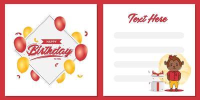 Diseño de plantilla de tarjeta de invitación de fiesta de cumpleaños cuadrada con diseño de personaje de mono vector