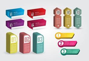 Plantilla de cuadro de texto 3d moderno, infografía de banner vector