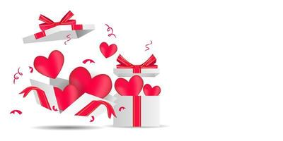 Flying and open gift box with heart background design