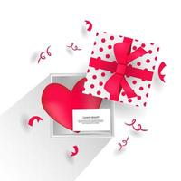 Realistic open gift box with heart and sheet design concept