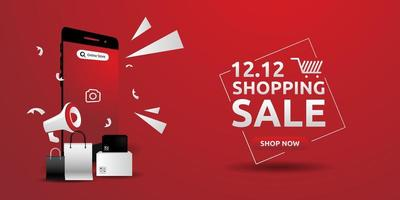 Red banner shopping day design template concept vector