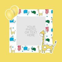 Photo frame with cartoon giraffe and balloons design