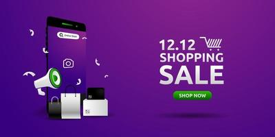Shopping sale banner design template on purple background vector