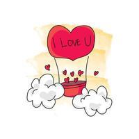 globo de aire caliente dibujado a mano con diseño de amor