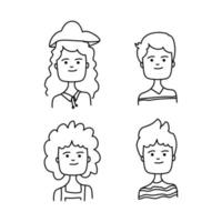 Line art cartoon people avatar collection on white background