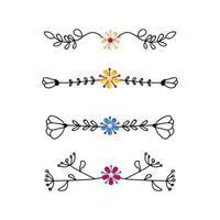 Set of ornament dividers design vector on white background