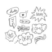 Hand drawn monochrome speech bubble collection on white background vector