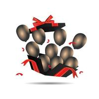Flying realistic black gift box with balloons on white background