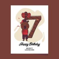 Tarjeta de invitación a la fiesta de cumpleaños número 7 con diseño de personaje de oso de dibujos animados
