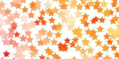 Light Orange vector background with small and big stars.