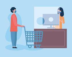 boy with mask shopping cart and saleswoman with computer vector design