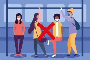 Social distancing between boys and girls with masks at bus station vector design