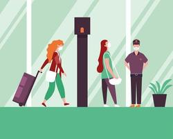 Mujeres y policía con máscaras médicas y bolsa en el diseño del vector del aeropuerto