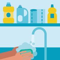 lavado de manos bajo el grifo de agua diseño vectorial vector