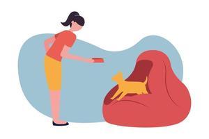 mujer con perro en hojaldre en casa diseño vectorial