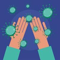 Manos limpias y diseño vectorial de virus covid 19