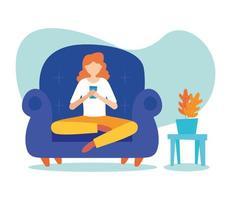 mujer con smartphone en silla en casa diseño vectorial