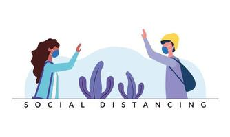 Social distancing between boy and girl with masks vector design