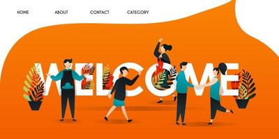 men, women and people who get acquainted with each other in the words WELCOME. the team shook hands to greet and introduce themselves  for web page, banner, presentation, concept Vector illustration