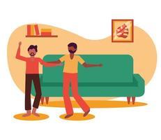 hombres y sofá en casa diseño vectorial