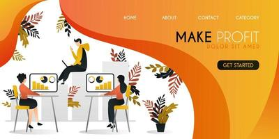 group of people who are working to grow profit and economy in business and companies vector illustration concept, can be use for presentation, web, banner ui ux, landing page