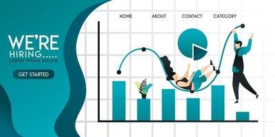 people or businessman play and hang on bar or line chart, pie chart . with inscription we're hiring and green gradation background . Vector illustration concept with flat character cartoon for web ui