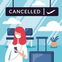 Mujer con máscara médica y diseño vectorial de tablero de vuelo cancelado vector