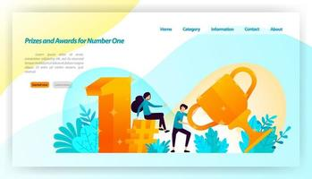 People received prizes and awards for number one with 3d gold style with trophies, first, hashtag. vector illustration concept for landing page, ui ux, web, mobile app, poster, banner, website, flyer