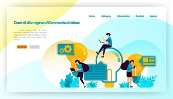 Control, manage and Communicate Ideas. people are brainstorming to find ideas with your light bulb and comments. vector illustration concept for landing page, ui ux, web, mobile app, poster, banner