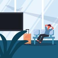 Man with travel bag on chair vector design