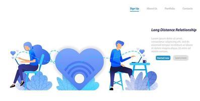 enviar mensajes de chat de gran amor desde una relación de pareja a larga distancia con una computadora portátil. concepto de ilustración plana para página de destino, web, interfaz de usuario, banner, folleto, cartel, plantilla, fondo vector