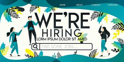 we're hiring vector illustration concept, man who is helping a woman ride on a job search engine with we're hiring word , can use for, landing page, template, ui, web