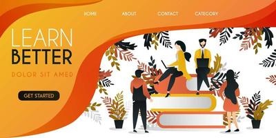 group of people studying at the top of the book to achieve a better future vector illustration concept, can be use for presentation, web, banner ui ux, landing page
