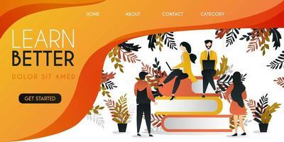 grupo de personas que estudian en la parte superior del libro para lograr un mejor concepto de ilustración vectorial en el futuro, se puede utilizar para presentaciones, web, banner ui ux, página de destino
