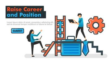 Raise Career and Position vector line illustration. People who try to raise their positions and careers by climbing stair and working harder. Tie and office bag. Mechanism of promotion. Website Mobile