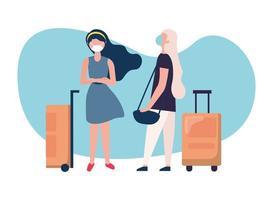 mujeres con máscaras médicas y bolsas de diseño vectorial vector