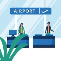 Women with medical masks on airport reception vector design