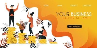 group of people who are trying to climb profits and learn better ,vector illustration concept, can be use for presentation, web, banner ui ux, landing page vector