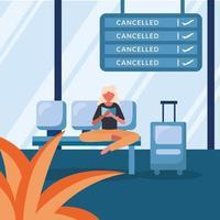 Mujer con bolsa en sillas y diseño vectorial de tablero de vuelo cancelado vector