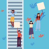 Women with masks and banners boards at stairs vector design