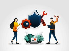 flat cartoon character. people are repairing and maintaining security systems with tools and shields. to improve security surveillance, security services company provides workers with security tools