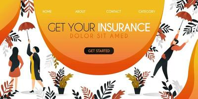 group of people trying to cover themselves with insurance and ideal umbrellas with the words get your insurance,vector illustration concept, can use for presentation, web, banner ui ux, landing page