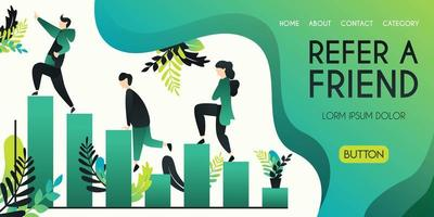 Refer a friend vector illustration concept, group of people climbing and climbing char bar statistics with refer a friend word , can use for, landing page, template, ui, web