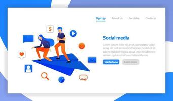 social media icon. paper plane to send messages. two young man or Businessman stands on paper airplanes. communication with chatting. flat vector illustration for web, banner, landing page, mobile