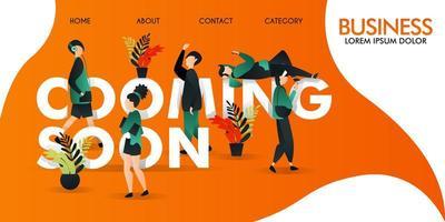 ilustración vectorial, hombres y mujeres caminando por la palabra próximamente. y un hombre tendido encima. se puede utilizar para, página de destino, plantillas, interfaz de usuario, web, aplicación móvil vector