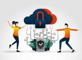 flat cartoon character. cloud storage is protected from viruses and hacking to maintain servers and databases. database security use firewall and network security solutions  from security companies vector