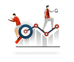 business and promotion of vector illustration. choose keywords to increase traffic. look for best list keywords if traffic decreases, SEO services to support revenue. SEO logo. flat character style