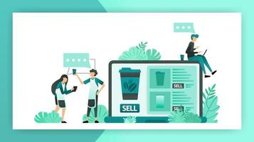 communication looking for online shop ideas for small and medium businesses, start selling using internet. vector illustration concept for landing page ui ux web mobile app poster banner flyer ads
